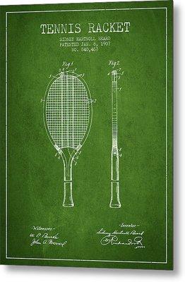 Tennis Racket Patent From 1907 - Green Metal Print