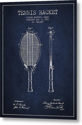 Tennis Racket Patent From 1907 - Navy Blue Metal Print by Aged Pixel