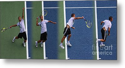 Tennis Serve By Mikhail Youzhny Metal Print