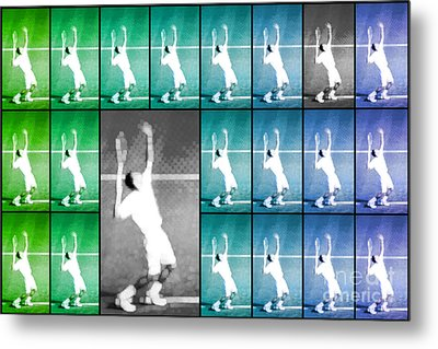 Tennis Serve Mosaic Abstract Metal Print
