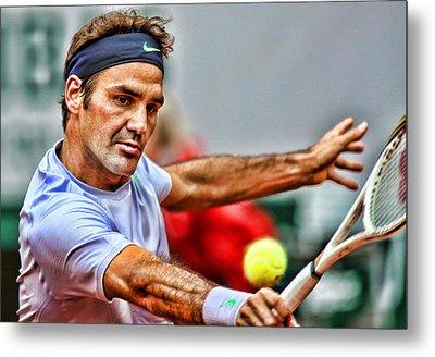 Tennis Star Roger Federer Metal Print by Srdjan Petrovic