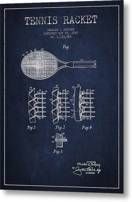 Tennnis Racket Patent Drawing From 1929 Metal Print