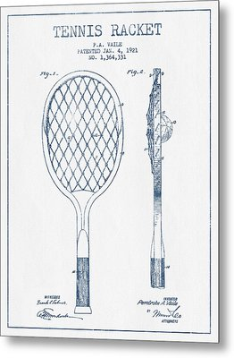 Tennnis Racketl Patent Drawing From 1921 -  Blue Ink Metal Print by Aged Pixel