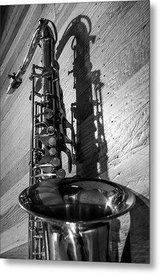Tenor Saxophone Black And White Vertical Metal Print