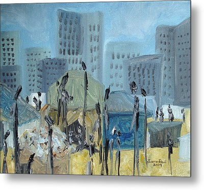 Metal Print featuring the painting Tent City Homeless by Judith Rhue