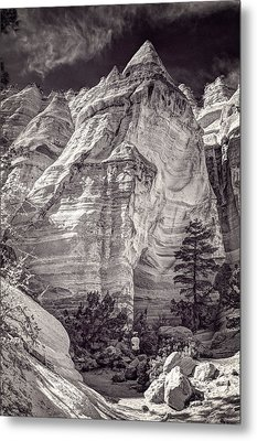 Metal Print featuring the photograph Tent Rocks No. 2 Bw by Dave Garner