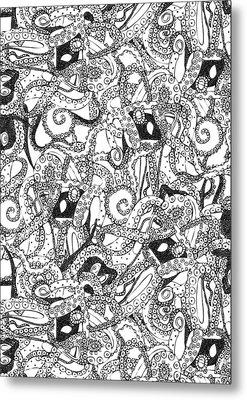 Tentacles Black White Metal Print