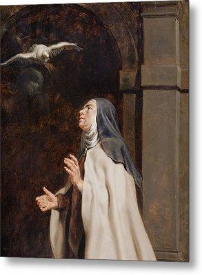 Teresa Of Avilas Vision Of A Dove Metal Print by Peter Paul Rubens