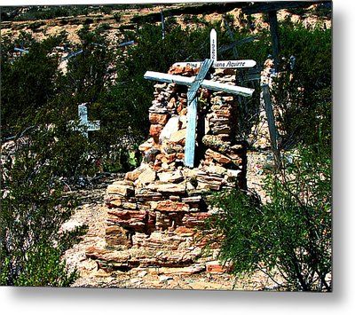 Metal Print featuring the photograph Terlingua Cross by Linda Cox