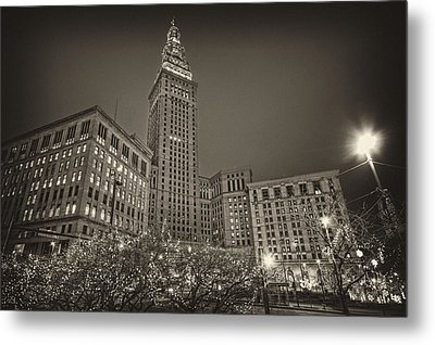 Metal Print featuring the photograph Terminal Tower At Night by Brent Durken