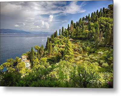 Terraced Hillside Of Portofino Metal Print by George Oze