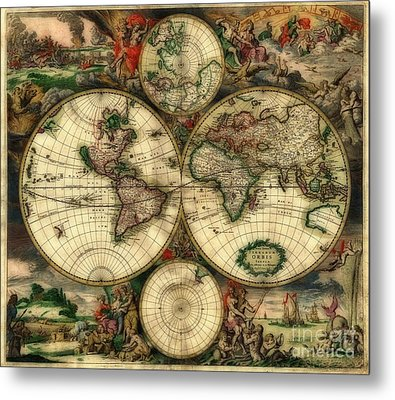 Terrarum Orbis Old World Map  Metal Print by Inspired Nature Photography Fine Art Photography
