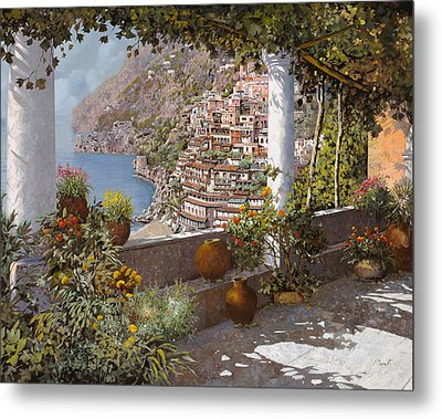 terrazza a Positano Metal Print by Guido Borelli