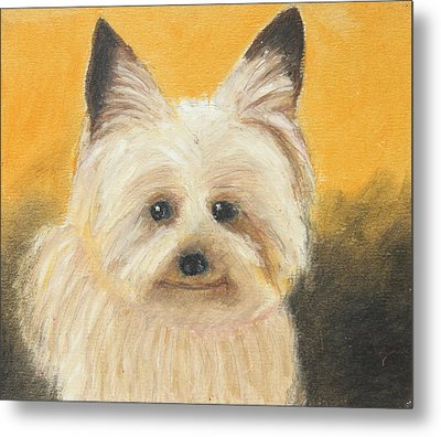 Metal Print featuring the painting Terrier by Jeanne Fischer