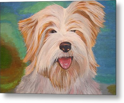 Terrier Portrait Metal Print by Tracey Harrington-Simpson