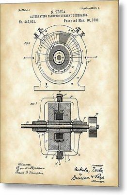 Tesla Alternating Electric Current Generator Patent 1891 - Vintage Metal Print