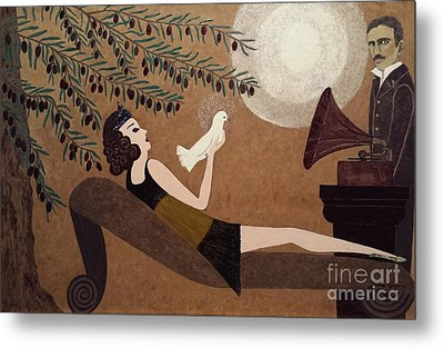 Tesla And White Dove Metal Print by Jasna Gopic