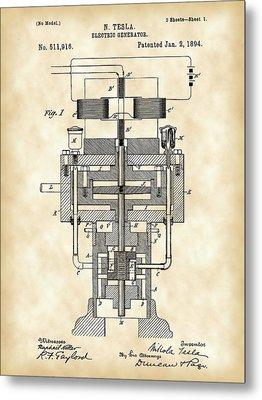 Tesla Electric Generator Patent 1894 - Vintage Metal Print