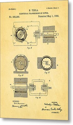 Tesla Electrical Transmission Of Power Patent Art 2 1888 Metal Print