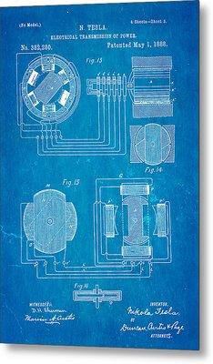 Tesla Electrical Transmission Of Power Patent Art 3 1888 Blueprint Metal Print