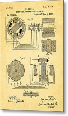 Tesla Electrical Transmission Of Power Patent Art 3 1888 Metal Print