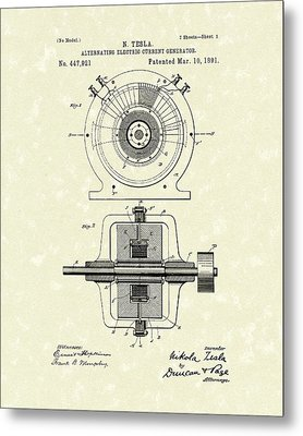 Tesla Generator 1891 Patent Art Metal Print by Prior Art Design