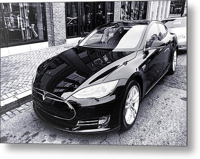 Metal Print featuring the photograph Tesla Model S by Olivier Le Queinec