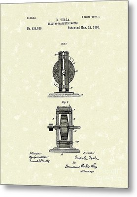 Tesla Motor 1890 Patent Art Metal Print