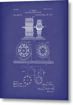 Tesla Motor Sept 1891 Patent Art Blue Metal Print