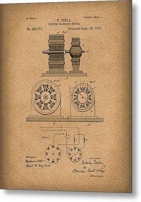 Tesla Motor Sept 1891 Patent Art Brown Metal Print