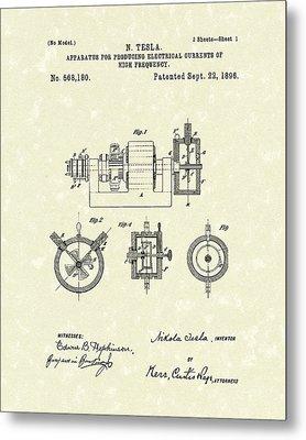 Tesla Radio Transmitter 1896 Patent Art Metal Print by Prior Art Design