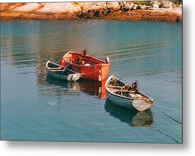 Tethered Rowboats Metal Print by Susan Crossman Buscho