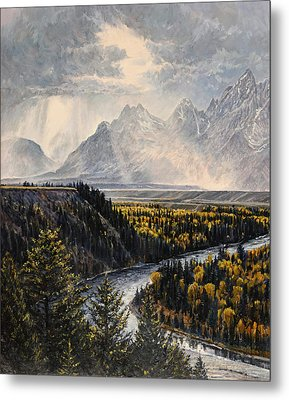 Metal Print featuring the painting Teton Illumination by Steve Spencer