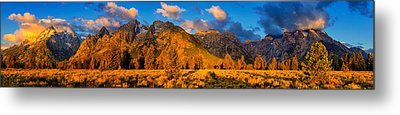 Teton Mountain View Panorama Metal Print by Greg Norrell