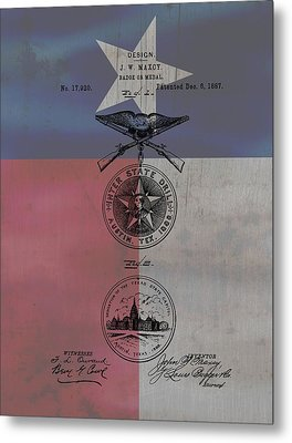 Texas Badge Patent On Texas Flag Metal Print