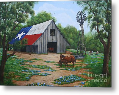 Metal Print featuring the painting Texas Barn by Jimmie Bartlett