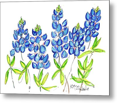 Texas Bluebonnets Watercolor Painting By Kmcelwaine Metal Print by Kathleen McElwaine