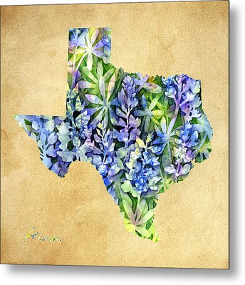 Texas Blues Texas Map Metal Print
