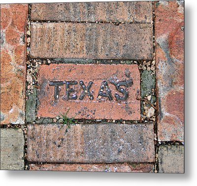 Texas Brick Walkway Metal Print by Kathy Peltomaa Lewis