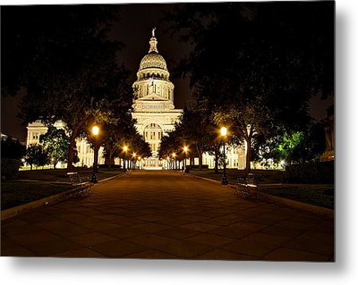 Metal Print featuring the photograph Texas Capitol At Night by Dave Files