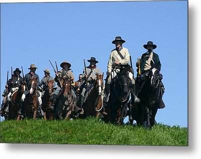 Texas Cavalry Regiment Descending - Perryville Ky Metal Print by Thia Stover