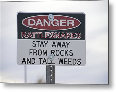 Texas Danger Rattle Snakes Signage Metal Print by Thomas Woolworth