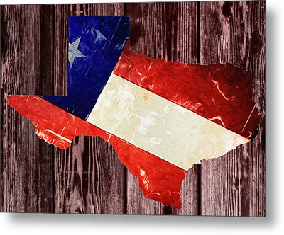 Texas Flag Map Metal Print by Bill Cannon