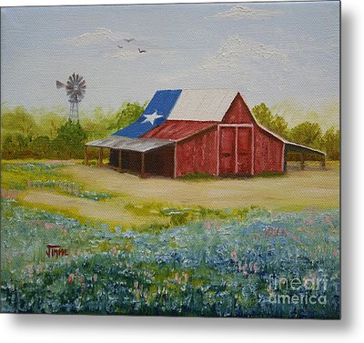 Metal Print featuring the painting Texas Hill Country Barn by Jimmie Bartlett