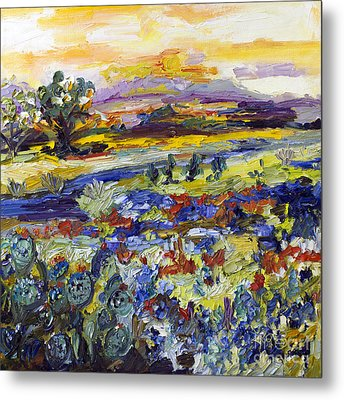 Texas Hill Country Bluebonnets And Indian Paintbrush Sunset Landscape Metal Print by Ginette Callaway