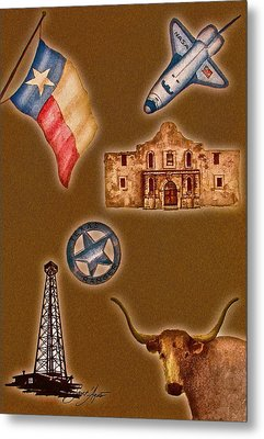 Texas Icons Poster By Sant'agata Metal Print by Frank SantAgata