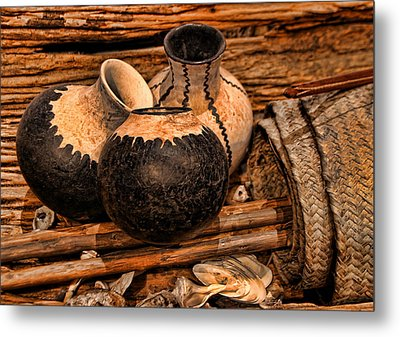 Texas Indian Potterry Jars And Artifacts Metal Print by Linda Phelps