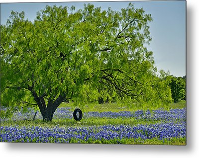 Metal Print featuring the photograph Texas Life - Bluebonnet Wildflowers Landscape Tire Swing by Jon Holiday