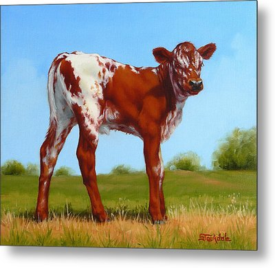 Metal Print featuring the painting Texas Longhorn New Calf by Margaret Stockdale