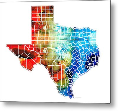 Texas Map - Counties By Sharon Cummings Metal Print
